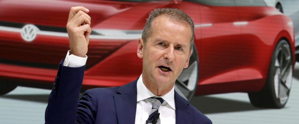 FILE - In this Aug. 1, 2018 file photo Herbert Diess, CEO of the Volkswagen stock company, addresses the media during a press conference in Wolfsburg, Germany. A person briefed on the matter says Volkswagen will invest $2.6 billion in a Pittsburgh au