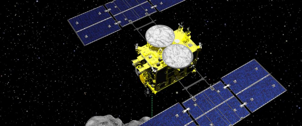 FILE - This computer graphics image released by the Japan Aerospace Exploration Agency (JAXA) shows the Hayabusa2 spacecraft above the asteroid Ryugu. Japan's space agency JAXA said Thursday, July 11, 2019 that data transmitted from the Hayabusa2 ind