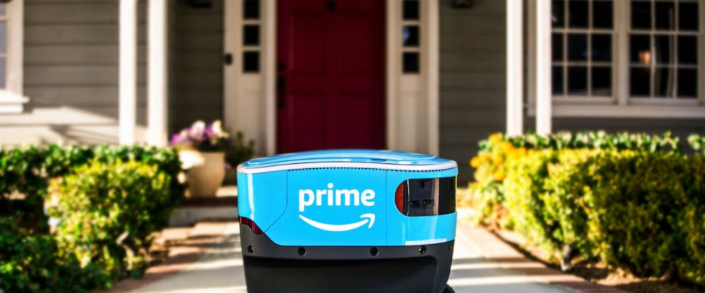 FILE - This undated photo provided by Amazon shows a self-driving delivery robot that Amazon is calling Scout. Amazon is expanding the use of its self-driving delivery robots to a second state. The online shopping giant says the six-wheeled robots, a
