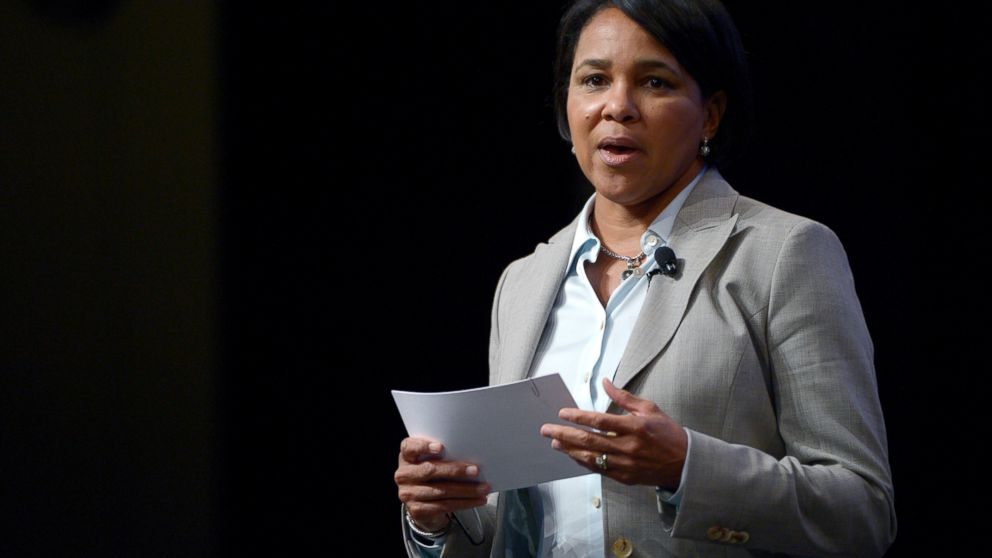 In this Aug. 22, 2013, photo, Sam's Club President and CEO Rosalind Brewer asks a question during a panel discussion at the Wal-Mart U.S. Manufacturing Summit in Orlando, Fla. Amazon says it has named Starbucks executive Rosalind Brewer to its board, making her the second black woman to ever sit on the online retailer's board of directors. Brewer is currently the chief operating officer at coffee chain Starbucks. She has also been CEO of Sam's Club, the warehouse club owned by Walmart. (AP Photo/Phelan M. Ebenhack)