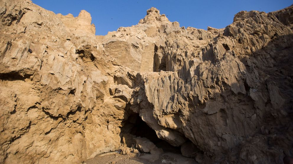 This Wednesday, March 27, 2019 photo, shows the entrance of the Malham Cave at the Dead Sea in Israel. Israeli researchers say they believe this to be the world's longest salt cave, a network of twisting passageways at the southern tip of the Dead Sea. (AP Photo/Ariel Schalit)