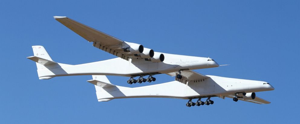 Stratolaunch, a giant six-engine aircraft with the world's longest wingspan , makes its historic first flight from the Mojave Air and Space Port in Mojave, Calif., Saturday, April 13, 2019. Founded by the late billionaire Paul G. Allen, Stratolaunch