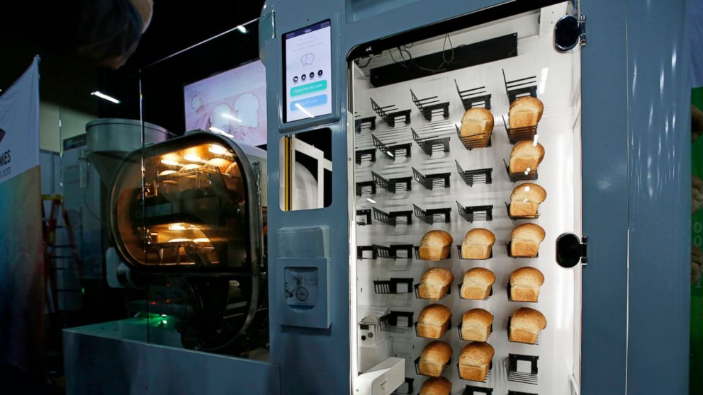 The Breadbot automatic bread baking machine is on display at the Wilkinson Baking Company booth during CES Unveiled at CES International, Sunday, Jan. 6, 2019, in Las Vegas. (AP Photo/John Locher)
