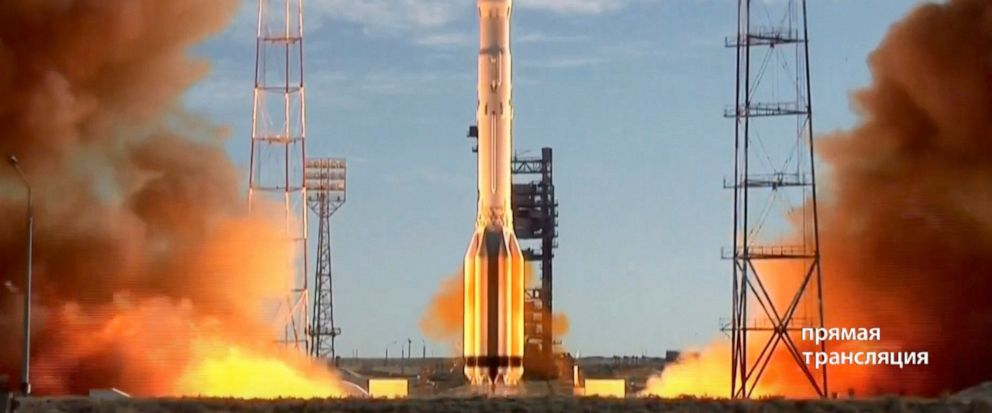 In this frame grab taken from video on Saturday, July 13, 2019, and distributed by Roscosmos Space Agency Press Service, a Russian Proton-M rocket takes off from the launch pad at Russias space facility in Baikonur, Kazakhstan. A Russian Proton-M ro