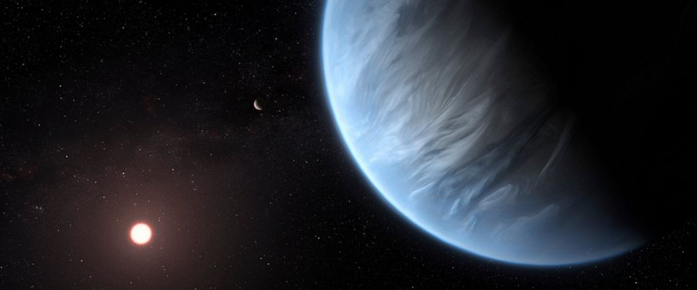 This artists rendering provided by University College London Centre for Space Exochemistry Data researchers shows Exoplanet K2-18b, foreground, its host star and an accompanying planet in this system. On Wednesday, the scientists announced they disc