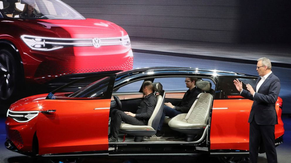 Volkswagen unveils a concept electric SUV, the whimsically named ID. ROOMZZ during the Auto Shanghai 2019 show in Shanghai on Tuesday, April 16, 2019. Automakers are showcasing electric SUVs and sedans with more driving range and luxury features at the Shanghai auto show, trying to appeal to Chinese buyers in their biggest market as Beijing slashes subsidies that have propelled demand. (AP Photo/Ng Han Guan)