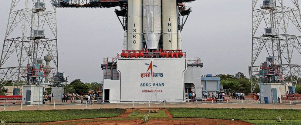 This July 2019, photo released by the Indian Space Research Organization (ISRO) shows its Geosynchronous Satellite Launch Vehicle (GSLV) MkIII-M1 being prepared for its July 15 launch in Sriharikota, an island off Indias south-eastern coast. India i