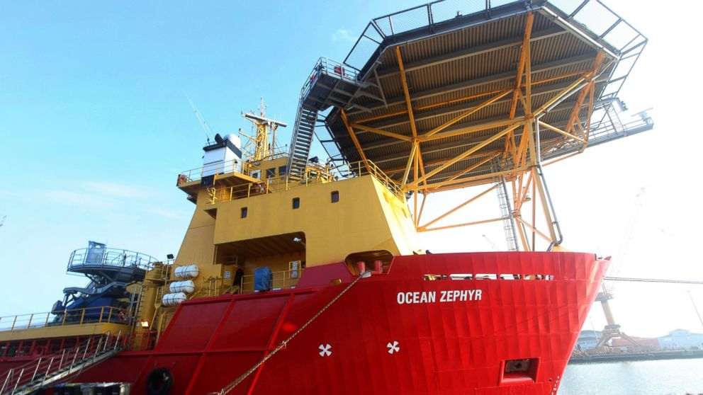 The Ocean Zephyr stands docked in Bremerhaven, Germany, Wednesday Jan. 23, 2019. The Britain-based Nekton Mission will use submarines to go 300 meters below the surface and sonar equipment to survey depths of up to 2,000 meters once the Ocean Zephyr reaches the Seychelles. Final preparations were being made Thursday for the start of an unprecedented, years-long mission to explore the Indian Ocean, during which scientists hope to document changes taking place beneath the waves that could affect billions of people in the surrounding region over the coming decades. (AP Photo/Stephen Barker)