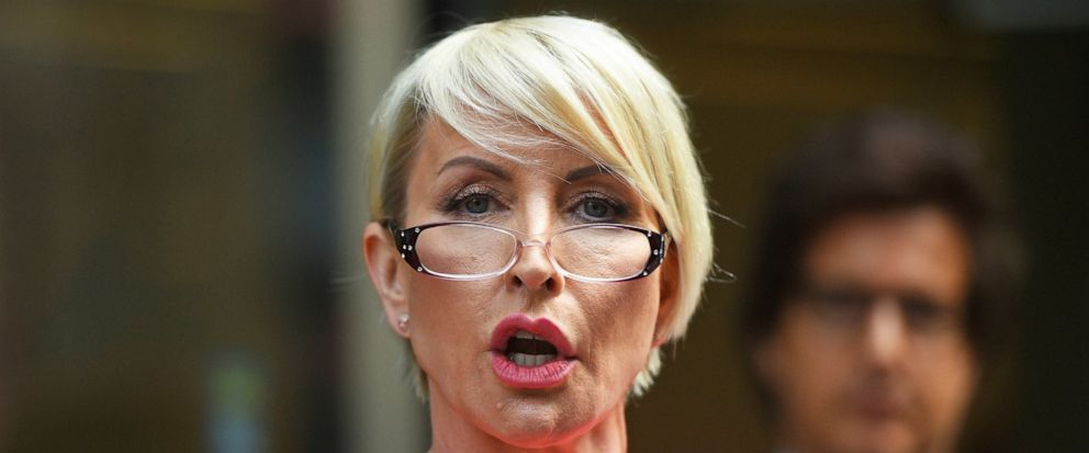Heather Mills speaks outside Rolls Building at the end of her legal phone-hacking claim against News Group Newspapers, in London, Monday July 8, 2019. Businesswoman and campaigner, Heather Mills, settled her claim Monday over phone-hacking against Ne