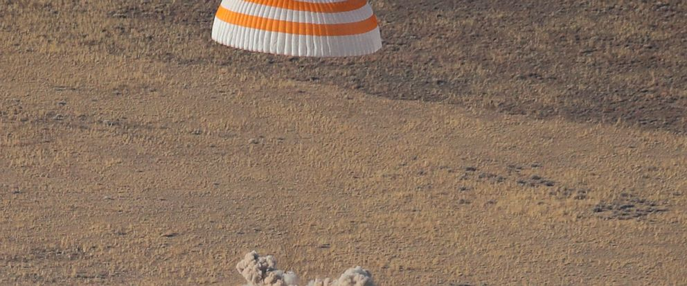 The Russian Soyuz MS-12 space capsule lands about 150 km (90 miles) south-east of the Kazakh town of Zhezkazgan, Kazakhstan, Thursday, Oct. 3, 2019. A Soyuz space capsule with U.S. astronaut Nick Hague, Russian cosmonaut Alexey Ovchinin and United Ar