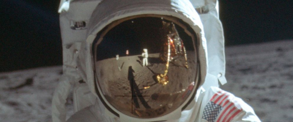 This detail of a July 20, 1969 photo made available by NASA shows astronaut Neil Armstrong reflected in the helmet visor of Buzz Aldrin on the surface of the moon. The astronauts had a camera mounted to the front of their suits, according to the Univ