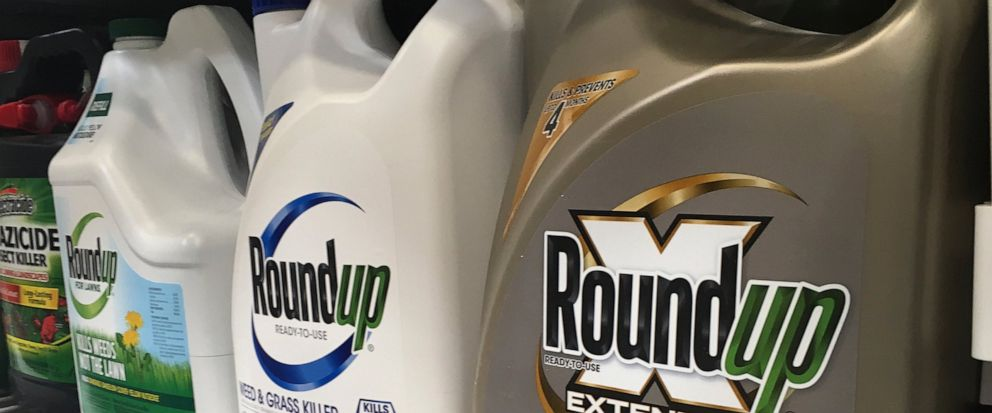 FILE - In this Feb. 24, 2019, file photo, containers of Roundup are displayed on a store shelf in San Francisco. A Northern California jury ordered agribusiness giant Monsanto Co. to pay a combined $2.05 billion to a couple who claimed the companys
