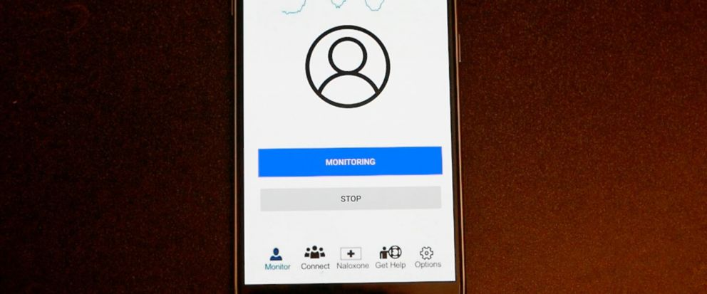 This image from video provided by the University of Washington in January 2019 shows a demonstration of the smartphone app developed by Rajalakshmi Nandakumar, Shyamnath Gollakota and Jacob E. Sunshine that uses sound waves to measure breathing. In f