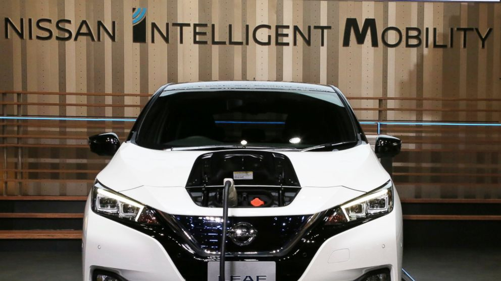 Nissan LEAF e+ is on display at the global headquarters of Nissan Motor Co., Ltd. in Yokohama Wednesday, Jan. 9, 2019. Nissan is showing the beefed up version of its hit Leaf electric car as the Japanese automaker seeks to distance itself from the arrest of its star executive Carlos Ghosn. The event at Nissan Motor Co.'s Yokohama headquarters, southwest of Tokyo, had been postponed when Ghosn was arrested Nov. 19.(AP Photo/Koji Sasahara)