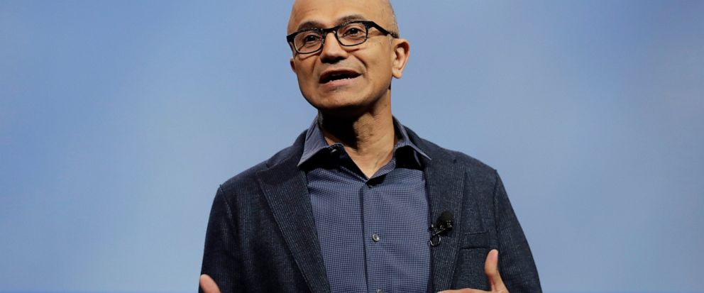 File-This Nov. 28, 2018, file photo shows Microsoft CEO Satya Nadella speaking during the annual Microsoft Corp. shareholders meeting in Bellevue, Wash. Microsoft is revamping its practices for investigating workplace investigations after a group of