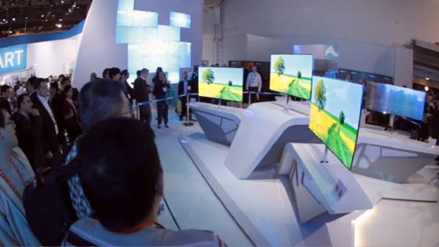 VIDEO: Samsung shows ultra thin TV sets that have voice controls and a video camera.
