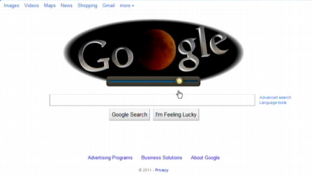 VIDEO: The search engine turns over its landing page to show lunar eclipse.