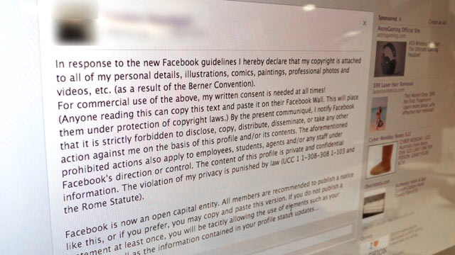 PHOTO: A false message spread on Facebook about copyright law and ownership.