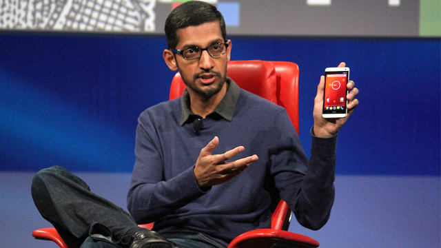 PHOTO: Googles Sudar Pichai with the Google Experience HTC One.