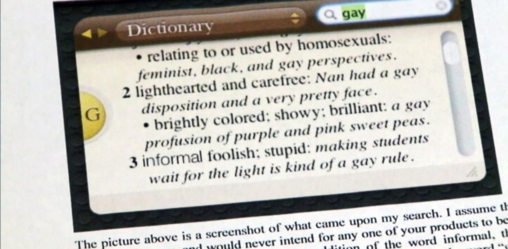 "PHOTO: Becca Gorman wrote Apple CEO Tim Cook about an offensive definition of the word ""gay,"" found in her Macbooks dictionary."