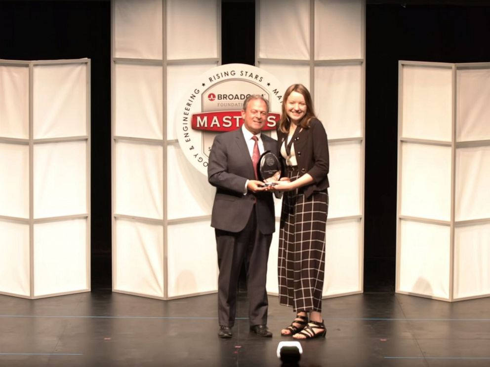PHOTO: Alaina Gassler, 14, of West Grove, Pennsylvania, won the $25,000 Samueli Foundation Prize for her project on reducing blind spots in cars.