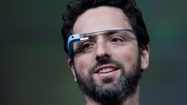 PHOTO: Google co-founder Sergey Brin demonstrates Google's new Glass, the wearable internet glasses shown at the Google I/O conference in San Francisco, June 27, 2012.
