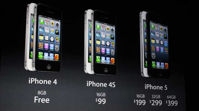 PHOTO: The iPhone 4, 4S, 5 shown at the iPhone 5 launch press conference.