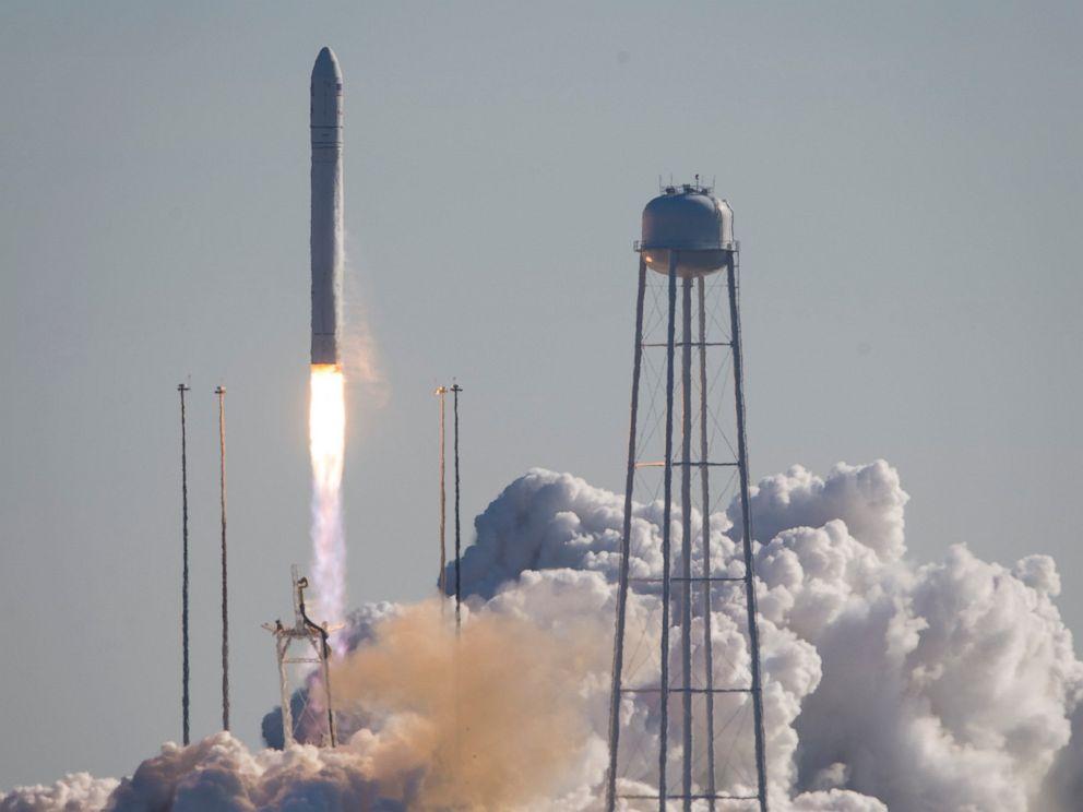 PHOTO: This photo provided by NASA shows an Orbital Sciences Corporation Antares rocket launches at NASAs Wallops Flight Facility, Thursday, Jan. 9, 2014, Wallops Island, Va.