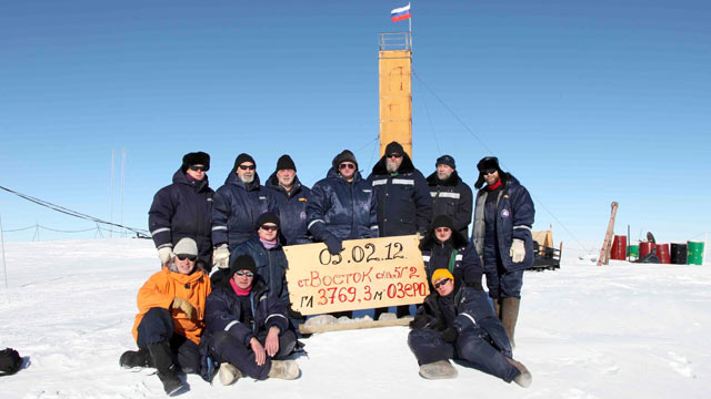PHOTO: Russian researchers at the Vostok station in Antarctica pose for a picture after reaching subglacial Lake Vostok, Feb. 5, 2012.
