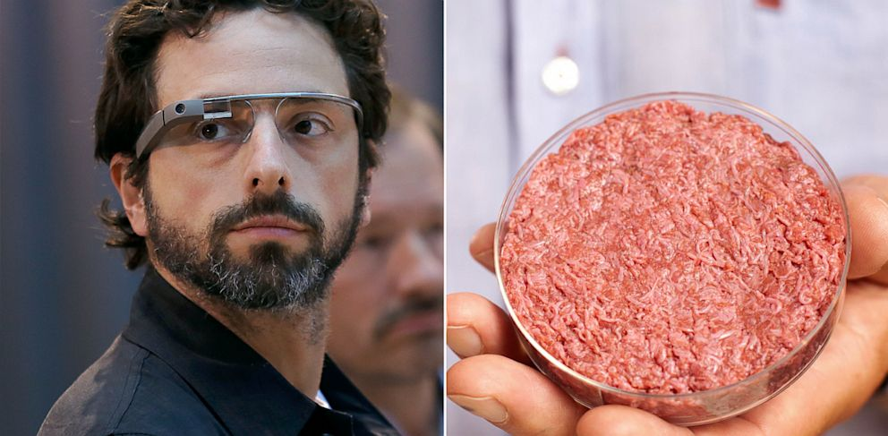 PHOTO: Sergey Brin and stem cell beef burger