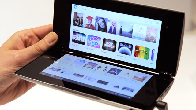PHOTO: The Sony Tablet P is displayed following a news conference at the 2012 International CES in Las Vegas, Jan. 9, 2012.