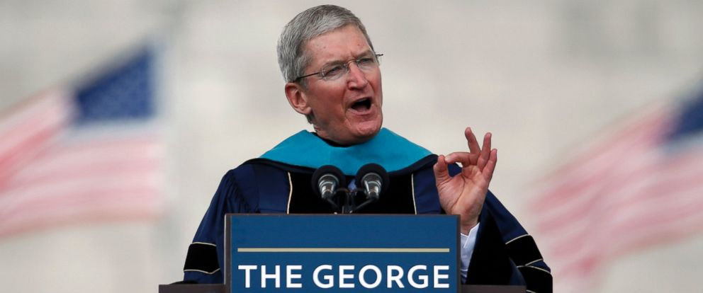 PHOTO: Apple CEO Tim Cook addresses graduates during George Washington Universitys commencement exercises on the National Mall, May 17, 2015 in Washington.