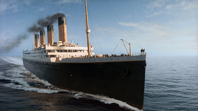 "PHOTO: In this film image released by Paramount Pictures, a scene is shown from 3-D version of James Camerons romantic epic ""Titanic."""