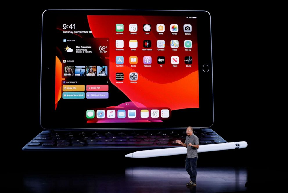 PHOTO: Greg Joswiak, Apples vice president of Product Marketing, speaks in front of an iPad at an Apple event at their headquarters in Cupertino, Calif., Sept. 10, 2019.