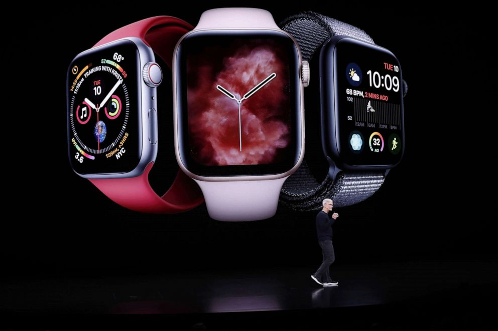 PHOTO: Apple CEO Tim Cook speaks about the new Apple Watch series 5 during the Apple Special Event in the Steve Jobs Theater in Cupertino, Calif., Sept. 10, 2019.