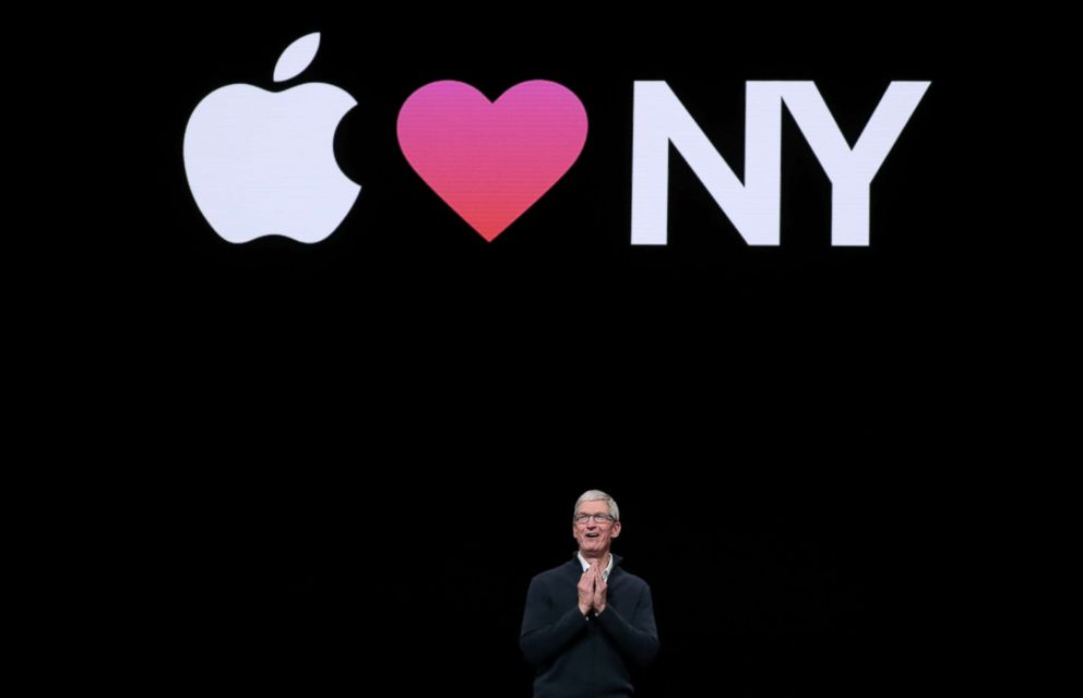 PHOTO: Apple CEO Tim Cook speaks during an Apple launch event in Brooklyn, Oct. 30, 2018.