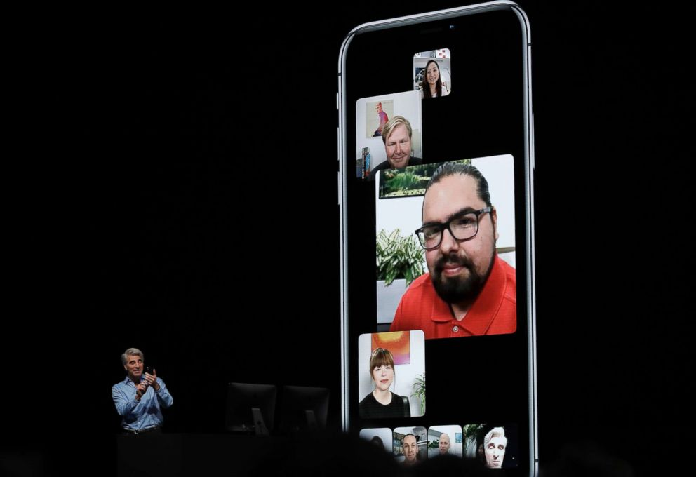 PHOTO: Craig Federighi, Apples senior vice president of Software Engineering, speaks about group FaceTime during an announcement of new products at the Apple Worldwide Developers Conference, June 4, 2018, in San Jose, Calif.