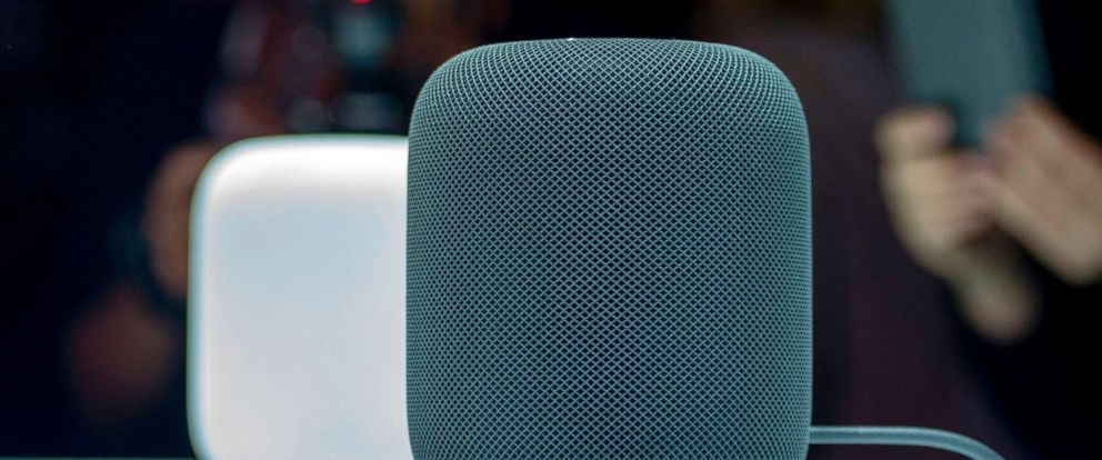 PHOTO: The Apple HomePod smart speaker on display during Apples Worldwide Developers Conference in San Jose, Calif., June 5, 2017.