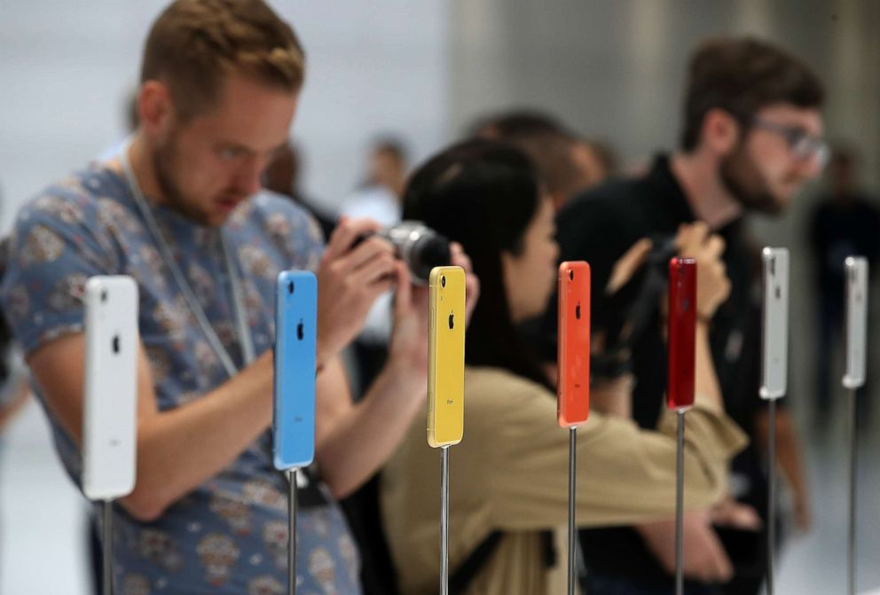 PHOTO: The new Apple iPhone XR is displayed during an Apple special event at the Steve Jobs Theatre on Sept. 12, 2018 in Cupertino, Calif.
