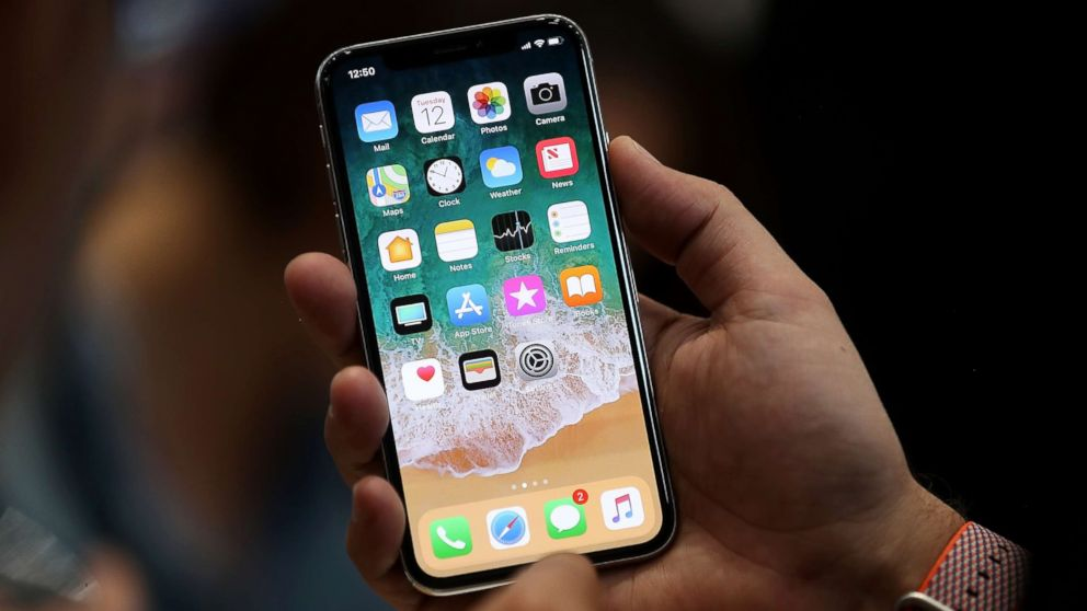 The new iPhone X is displayed during an Apple special event at the Steve Jobs Theatre on the Apple Park campus on Sept. 12, 2017 in Cupertino, Calif.