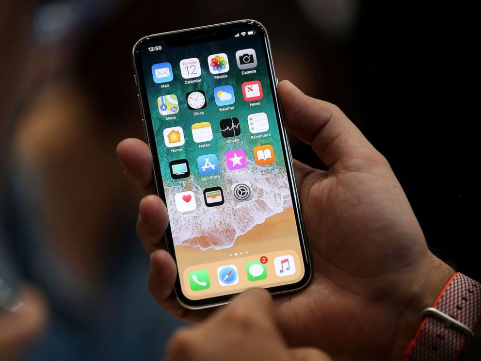 PHOTO: The new iPhone X is displayed during an Apple special event at the Steve Jobs Theatre on the Apple Park campus on Sept. 12, 2017 in Cupertino, Calif.