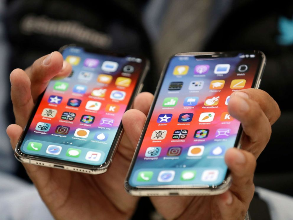 PHOTO: The iPhone XS, left, and XS Max are displayed side to side during an event to announce new products at Apple headquarters, Sept. 12, 2018, in Cupertino, Calif.