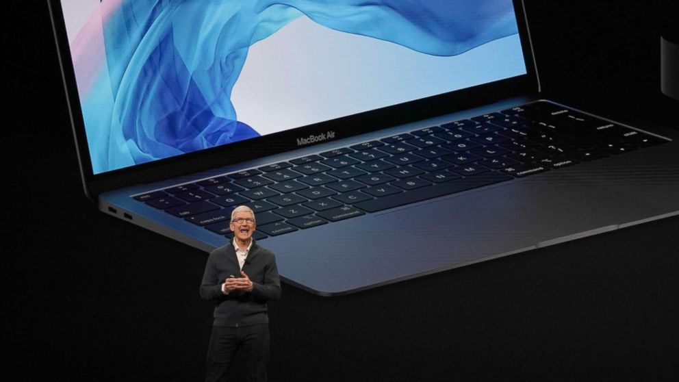 Apple CEO Tim Cook presents new products, including new Macbook laptops, during a special event at the Brooklyn Academy of Music, Oct. 30, 2018, in New York.