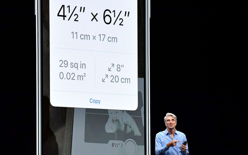 PHOTO: Apple Senior Vice President of Software Engineering Craig Federighi speaks about a new Measure app at Apples Worldwide Developer Conference (WWDC) at the San Jose Convention Centerin San Jose, Calif., June 4, 2018.