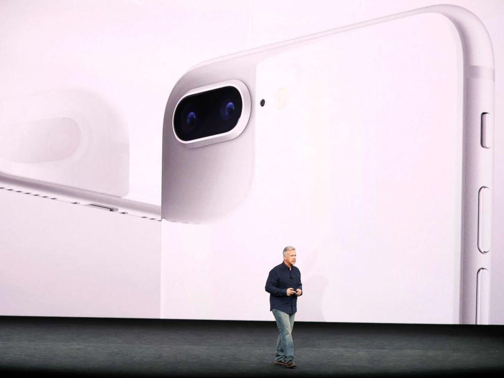 PHOTO: Apple Senior Vice President of Worldwide Marketing, Phil Schiller, introduces the iPhone 8 during a launch event in Cupertino, Califo., Sept. 12, 2017.