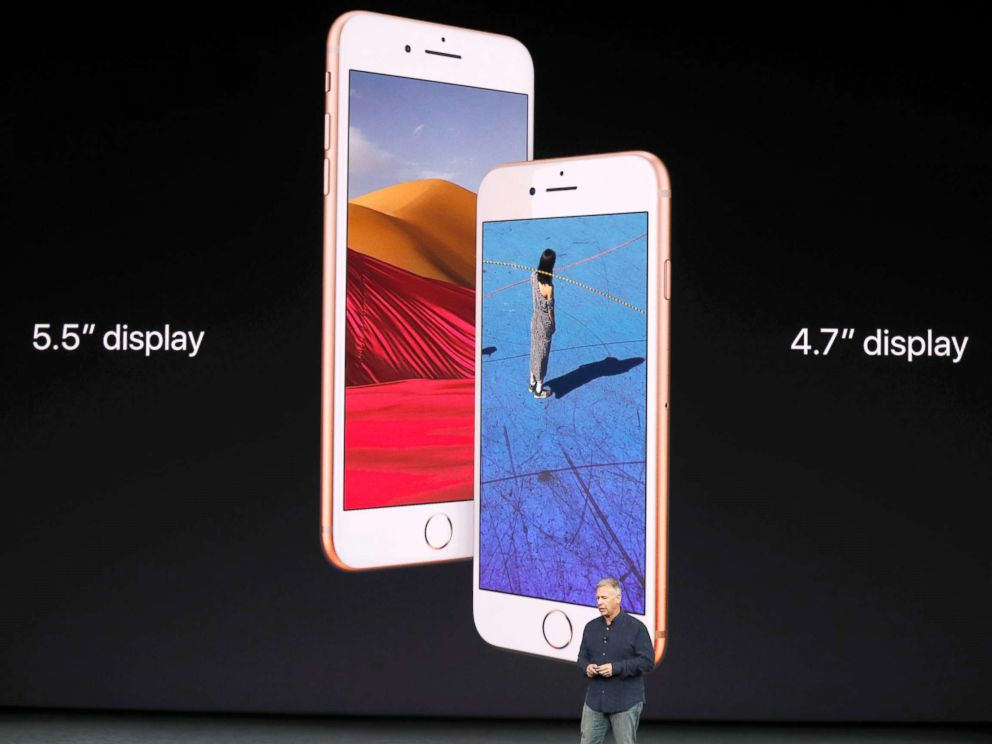 PHOTO: Apple Senior Vice President of Worldwide Marketing, Phil Schiller, introduces the iPhone 8 during a launch event in Cupertino, Calif., Sept. 12, 2017.