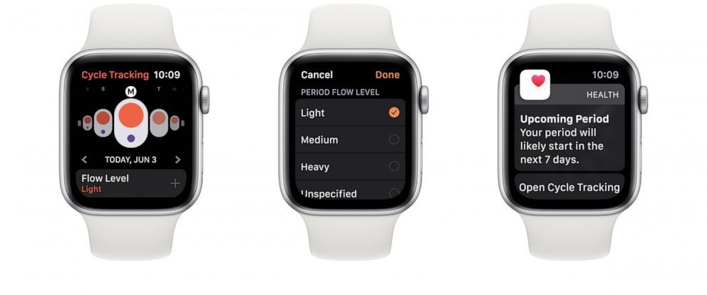 PHOTO: This undated photo shows the Cycle Tracking app on the Apple watchOS 6.