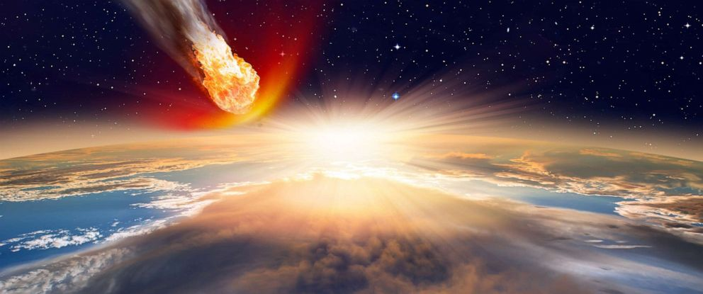PHOTO: An artists depiction shows a giant asteroid approaching the Earth.
