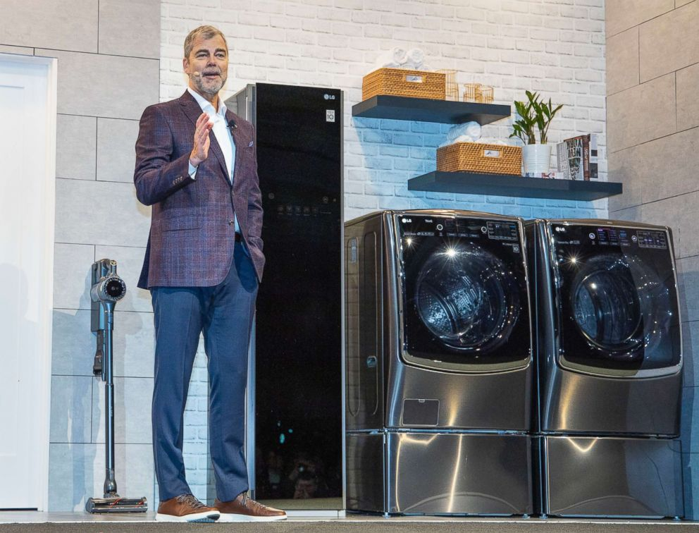 PHOTO: Dave VanderWaal, Senior Vice President of Marketing, LG Electronics USA, talks about ProActive Customer Care, an AI-powered customer service tool for home appliances at press conference during CES 2019, Jan. 7, 2019, in Las Vegas.