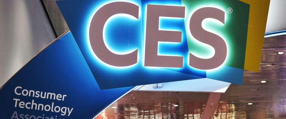 PHOTO: An illuminated CES sign is seen inside the Las Vegas Convention Center ahead of the opening of the 2018 Consumer Electronics Show in Las Vegas, Jan. 6, 2018.